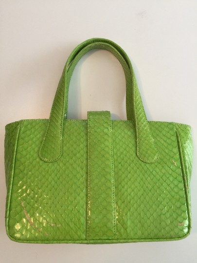 Hayward House Python Satchel in Lime green Image 1