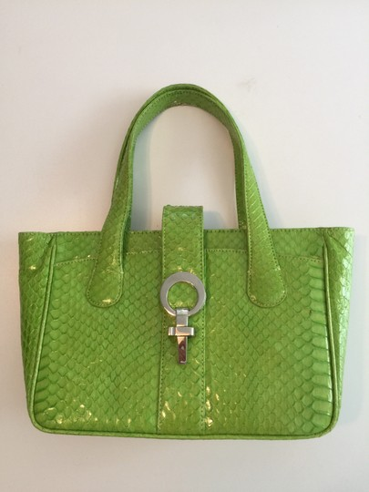 Hayward House Python Satchel in Lime green Image 2