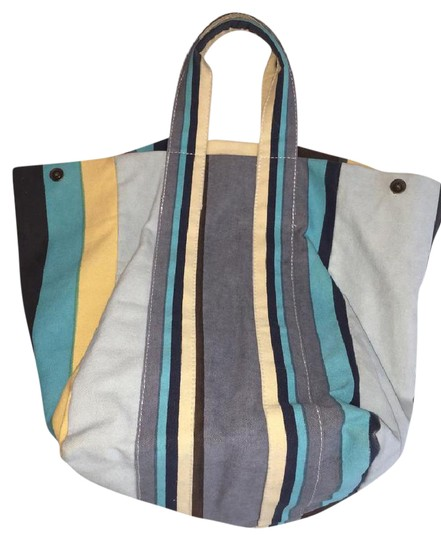 Preload https://img-static.tradesy.com/item/21952918/lost-and-found-stripe-blue-yellow-white-orange-sherbet-canvas-tote-0-2-540-540.jpg