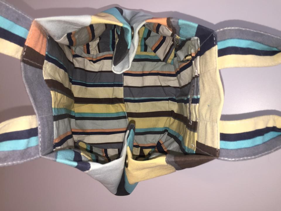 Lost & Found Stripe - Blue Yellow White Orange Sherbet Canvas Tote 66% off  retail