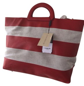 Burberry Tote in Khaki Beige/ Cadmium Red