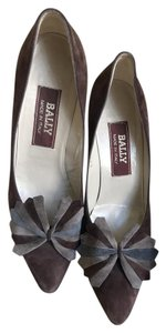 Bally Clip-on Bow Vintage Suede Floral Brown Pumps