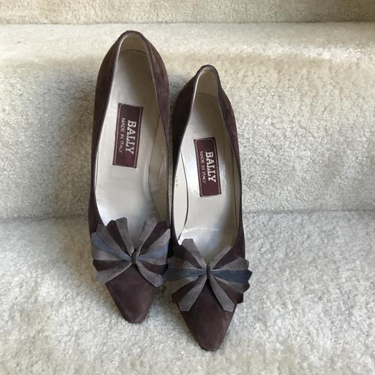 Bally Clip-on Bow Vintage Suede Floral Brown Pumps Image 1