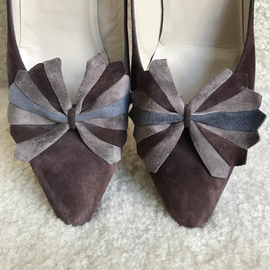 Bally Clip-on Bow Vintage Suede Floral Brown Pumps Image 2