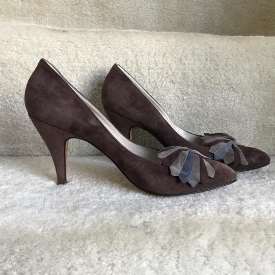 Bally Clip-on Bow Vintage Suede Floral Brown Pumps Image 4