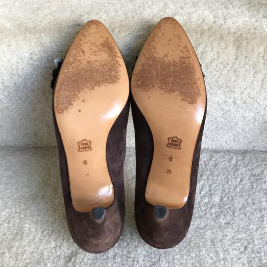 Bally Clip-on Bow Vintage Suede Floral Brown Pumps Image 7