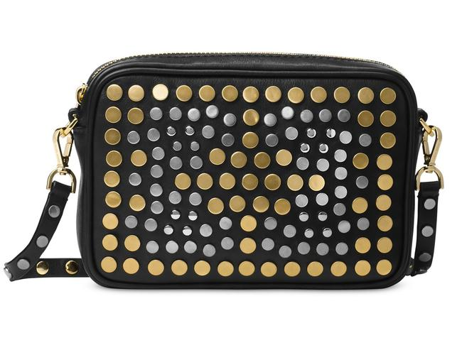 Item - Jenkin North South Stud Pouches Black / Multi Leather Cross Body Bag