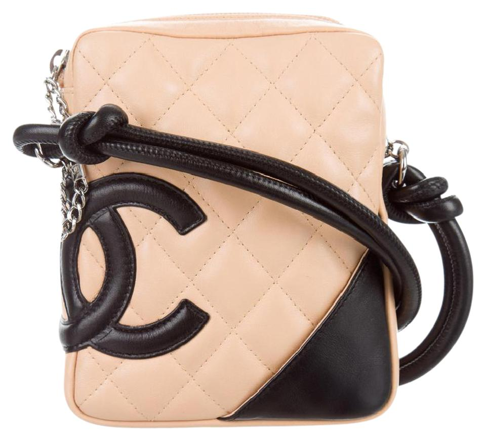 d4b11fe5e45f97 Chanel Messenger Cambon Ligne Mini Beige and Black Leather Cross ...