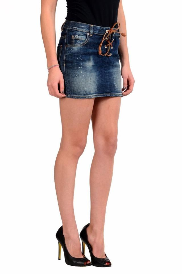 8c70500bc7 Dsquared2 Blue Women's Distressed Denim Skirt Size 2 (XS, 26) - Tradesy