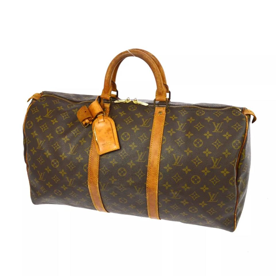 louis vuitton keepall brown leather weekend travel bag tradesy. Black Bedroom Furniture Sets. Home Design Ideas