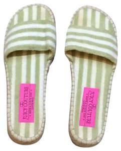 Juicy Couture Terry Cloth Striped Espadrille Slip On Green And White Sandals