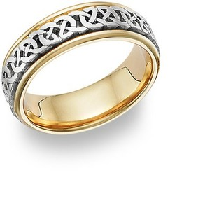 Apples of Gold Silver Caer Celtic Knot 14k Two-tone (All Sizes) Women's Wedding Band