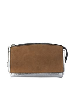Alexander Wang Leatherxsuede BrownxSilver Clutch