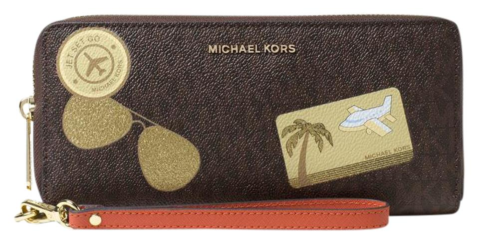 0648a3acd05f Michael Kors Michael Kors Illustrated MK Logo Fly Away Travel Continental  Wallet Image 0 ...