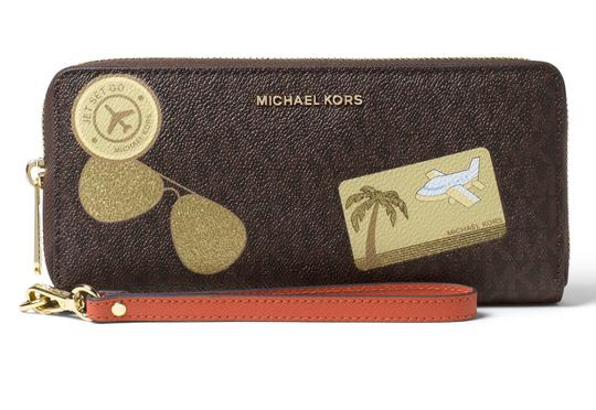 Michael Kors Michael Kors Illustrated MK Logo Fly Away Travel Continental Wallet Image 3