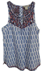 Lucky Brand Aztec Embroidered Embellished Top
