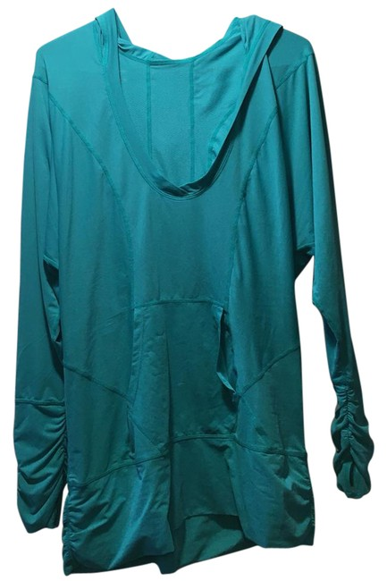 Item - Turquoise Ruched Hooded Dry-fit Pullover Activewear Top Size 12 (L)