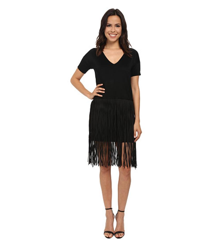 42783e119c0 French Connection Black Spotlight Fringe Mid-length Cocktail Dress ...