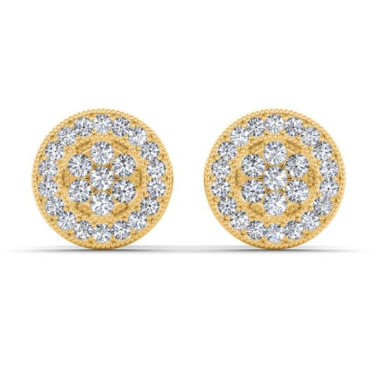 Elizabeth Jewelry 10Kt Yellow Gold Diamond Halo Stud Earrings Image 1