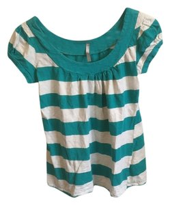 A'GACI Top Teal and white