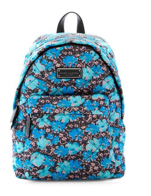 Item - Quilted Quilted Wildflowers Blue Gray Floral Nylon Backpack