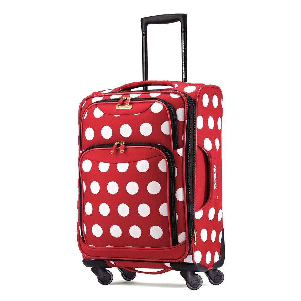 c73598cb4 Polka Dot Luggage Carry On Spinner Red White Polyester Weekend ...