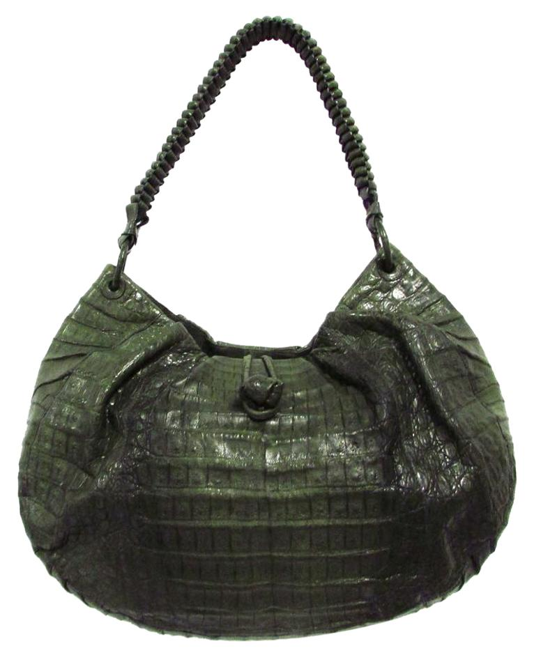 eaff70231160 Nancy Gonzalez Genuine Olive Green Crocodile Skin Leather Hobo Bag ...