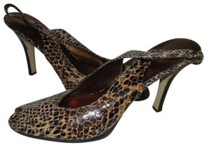 Anne Klein Lizard Skin Patent Slingback Strap Closure Stacked Heels Taupe Pumps