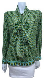 Tory Burch Silk Printed Gold Buttons Size 10 Top Green