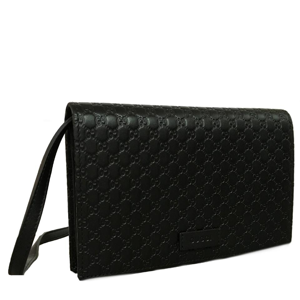 5a1b6b39a743 Gucci Shoulder Microguccissima Gg Logo Wallet 466507 Black Leather ...