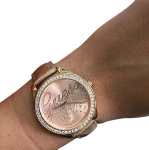 Guess Pink Radiance Little Party Girl Glitter Womens Watch