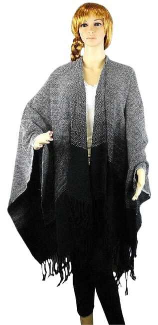 Preload https://item2.tradesy.com/images/blackgray-multitone-knit-shawl-wrap-ponchocape-size-os-one-size-21955196-0-1.jpg?width=400&height=650