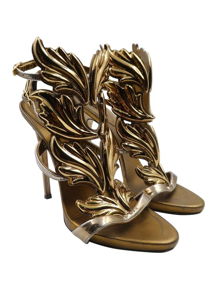21a223637e260 Giuseppe Zanotti Gold Coline Wings Metallic Leather 39/ 9 Heels Sandals