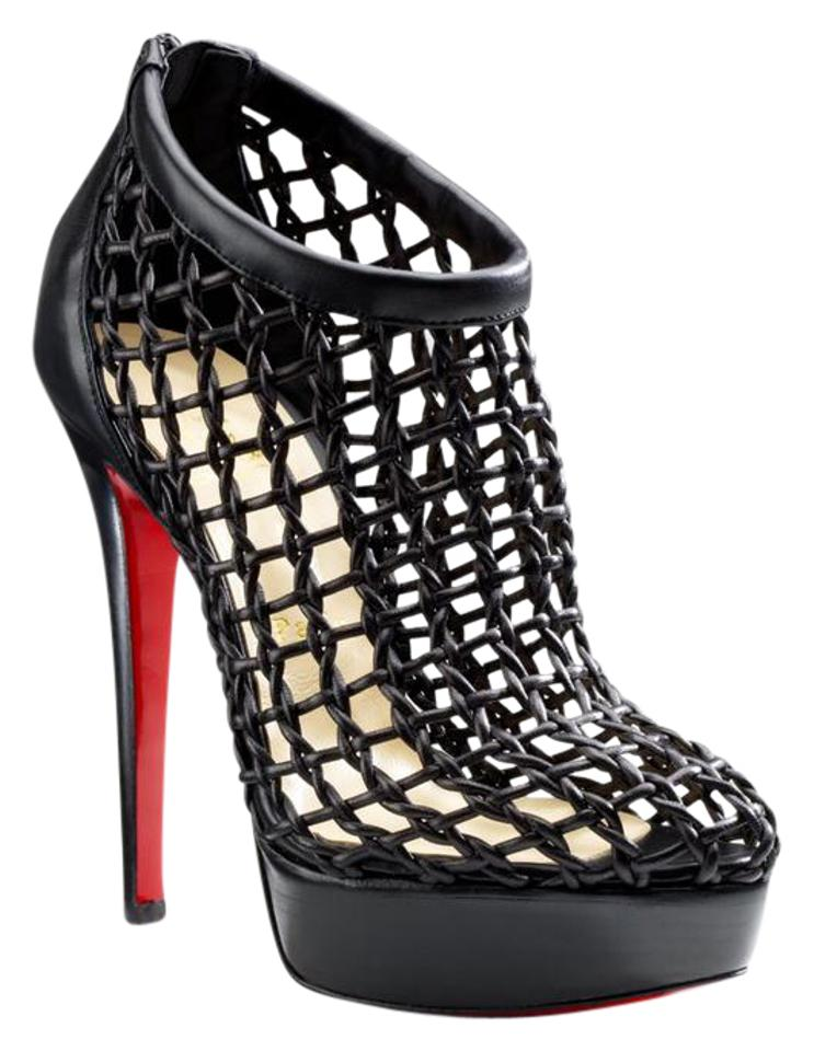 db4837e9e162 Christian Louboutin Black Leather Coussin Caged Boots Booties Size ...