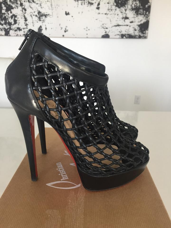 the latest d65b8 fc180 Christian Louboutin Black Coussin Leather Caged Boots/Booties Size EU 37  (Approx. US 7) Regular (M, B)