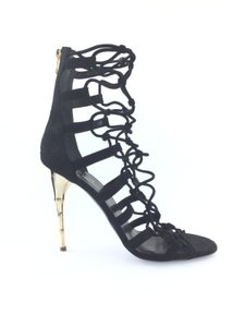 Balmain Gold Bamboo Strappy Gladiator Suede Black Sandals