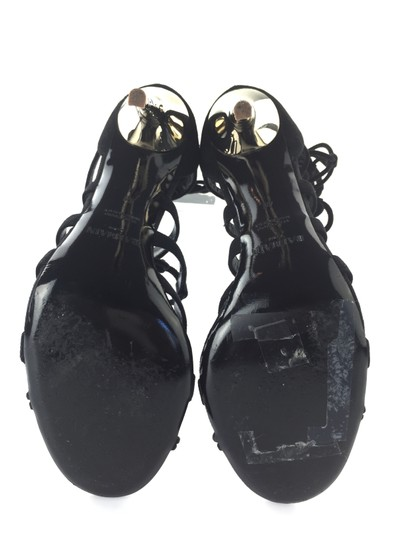 Balmain Gold Bamboo Strappy Gladiator Suede Black Sandals Image 5