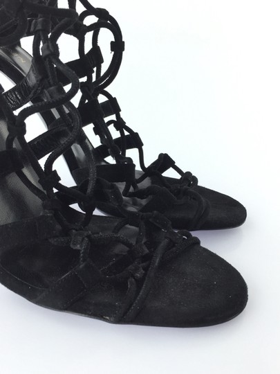 Balmain Gold Bamboo Strappy Gladiator Suede Black Sandals Image 6