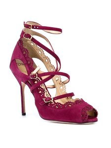 Marchesa Strappy Orchid Suede Pumps