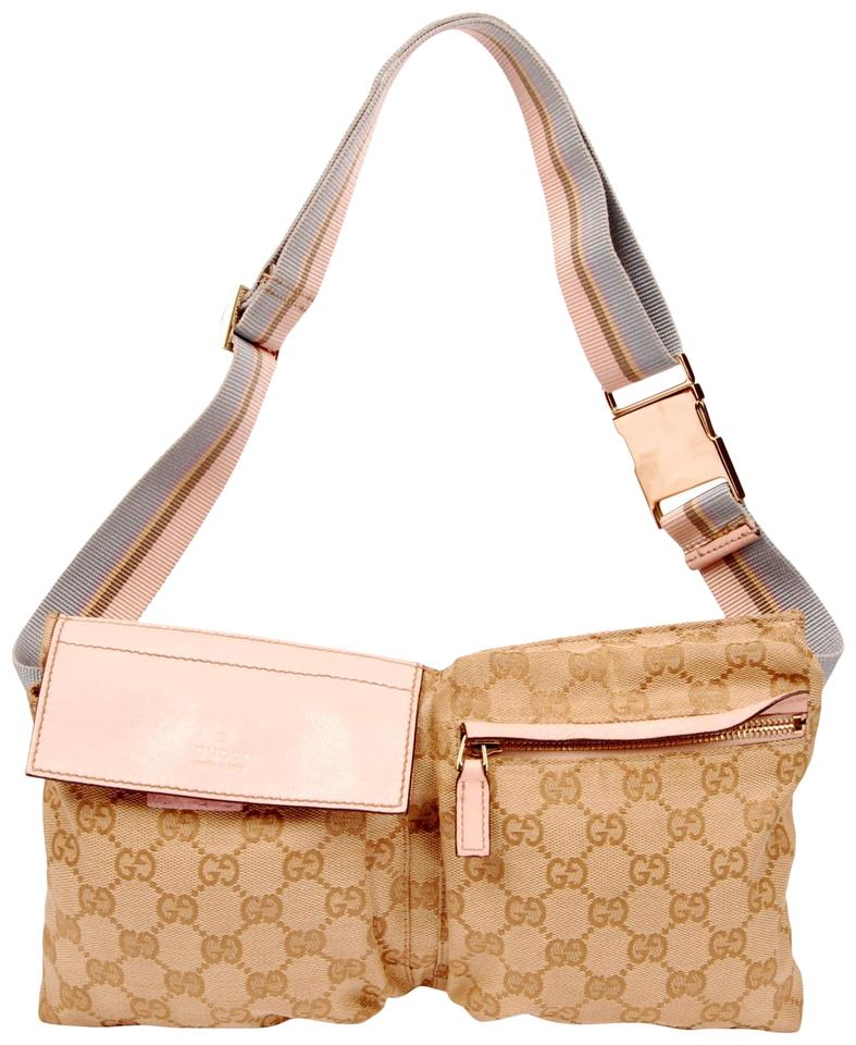 7b57e9a3830 Gucci Monogram Waist Belt Canvas Classic Pink and Brown Travel Bag Image 0  ...