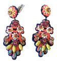 J.Crew J.CREW EMBROIDERED CRYSTAL EARRINGS MULTI G3299 Image 0