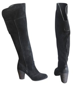 Dolce Vita Otk Over The Knee Chunky Heel Suede Black Boots