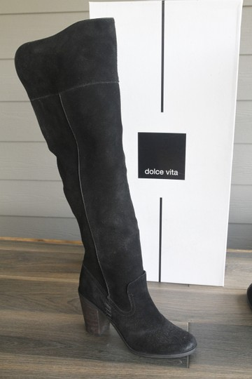 Dolce Vita Otk Over The Knee Chunky Heel Suede Black Boots Image 2
