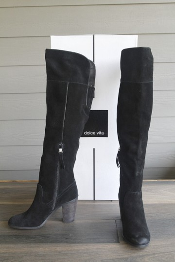 Dolce Vita Otk Over The Knee Chunky Heel Suede Black Boots Image 5