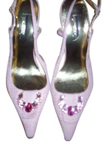 J. Renee Peach cloth with Pink Rhinestones Pumps