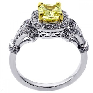 Yellow 1.58 Ctw Fancy Cushion Cut Set In 18k W Engagement Ring