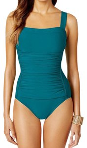 Swim Solutions SWIM SOLUTIONS PEACOCK TUMMY CONTROL RUCHED ONE PIECE SWIMSUIT 16