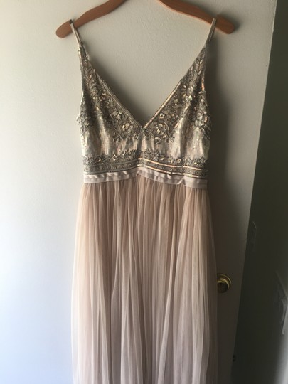 BHLDN Beige Polyester Georgette Bodice with A Nylon Tulle Skirt Both Lined In Polyester Needles Thread Formal Bridesmaid/Mob Dress Size 6 (S) Image 1