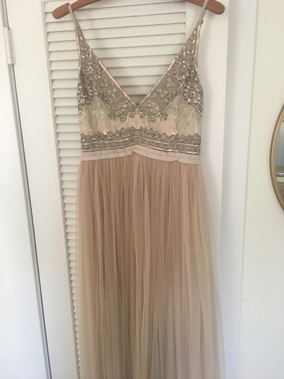 BHLDN Beige Polyester Georgette Bodice with A Nylon Tulle Skirt Both Lined In Polyester Needles Thread Formal Bridesmaid/Mob Dress Size 6 (S) Image 4