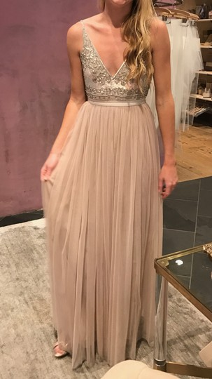 BHLDN Beige Polyester Georgette Bodice with A Nylon Tulle Skirt Both Lined In Polyester Needles Thread Formal Bridesmaid/Mob Dress Size 6 (S) Image 5